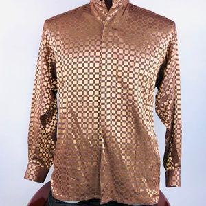 Monzini Metallic Shiny Copper Color Mens Shirt S